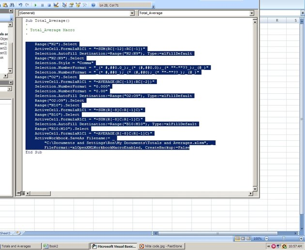Highlight and copy only the statements, omitting the name of the function and the end line.