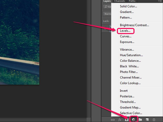 The New Fill or Adjustment Layer menu in the Layers panel of Photoshop.