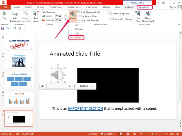 Muting an audio object in PowerPoint.