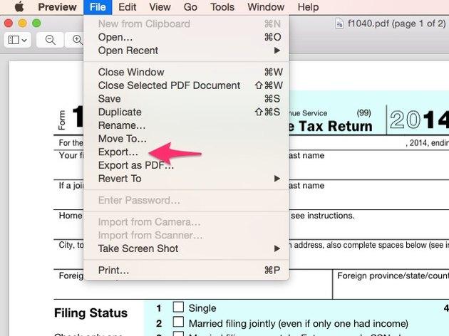 Click Export in the File menu.