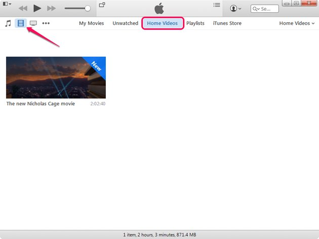 Selecting the Home Videos tab in iTunes.