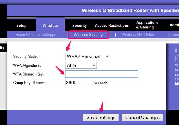 Wireless Security page.
