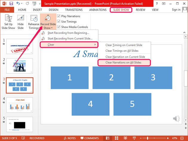 Removing all narration in PowerPoint.