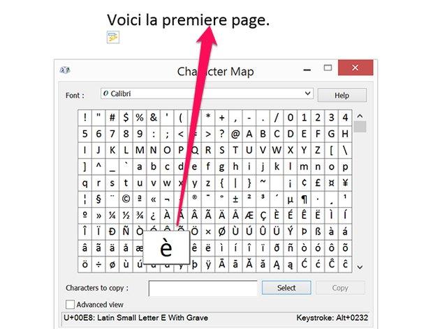 Character Map window