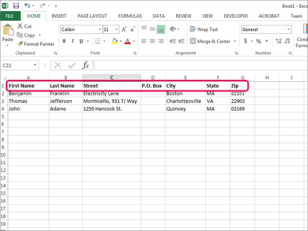 Ensure Excel columns reflect the address information you want on your labels.