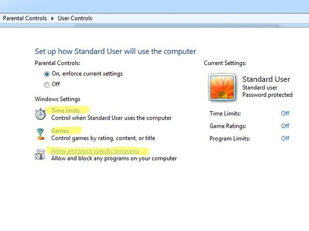 User controls screen.