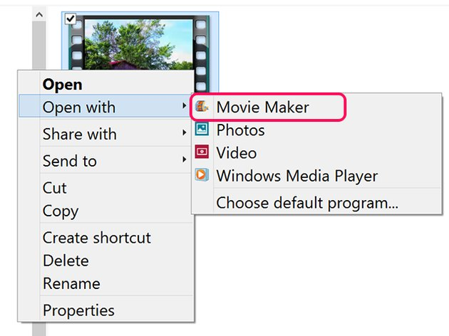 Open the video file with Movie Maker.