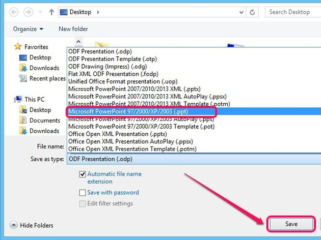 Save ODP file in the PPT format.