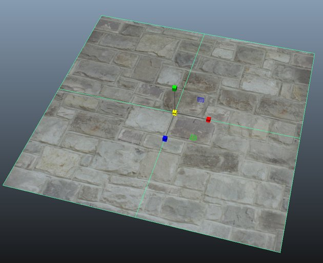 Example of a brick texture applied to a plane in Maya.