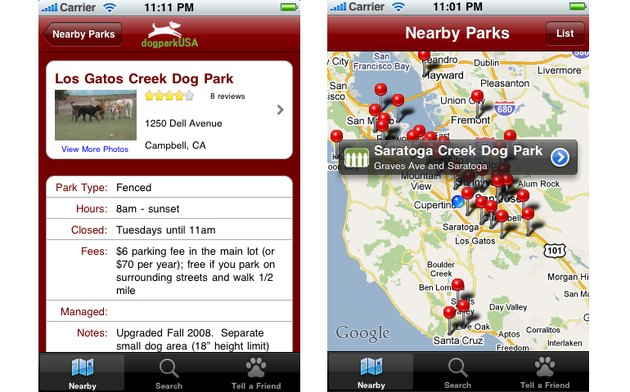 Screenshot from Dog Park Finder Plus