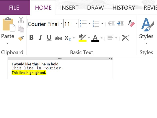 Examples of text formatting options.