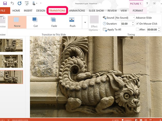 PowerPoint's Transitions options
