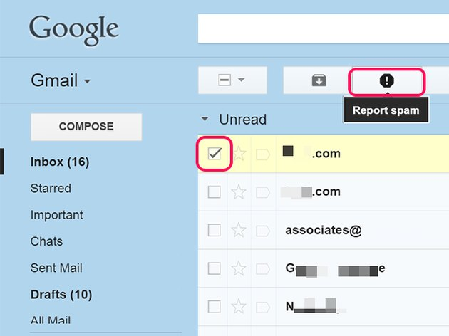 Reporting spam takes a single click in Gmail.