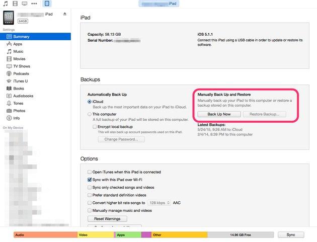 Restore iPad in iTunes