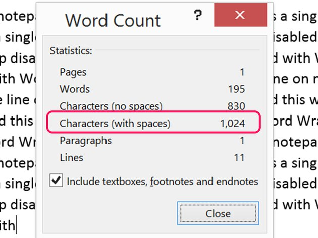 A single line in Notepad pasted into Word shows 1,024 characters.