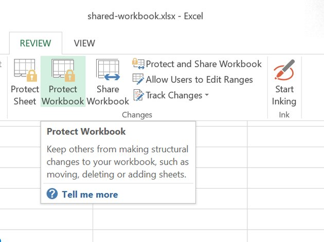 Click Protect Workbook.
