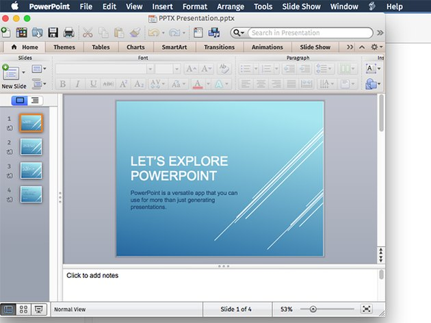 A PPTX file in PowerPoint for Mac.