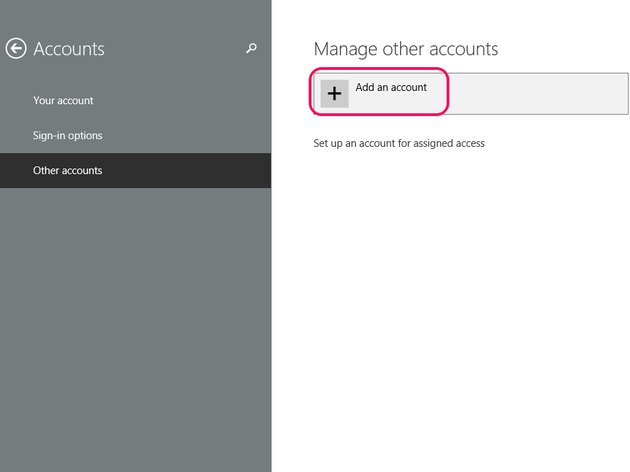 Select Add an account.