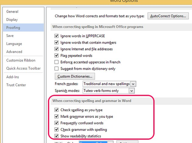 Check the boxes to add rules to the spell checker.