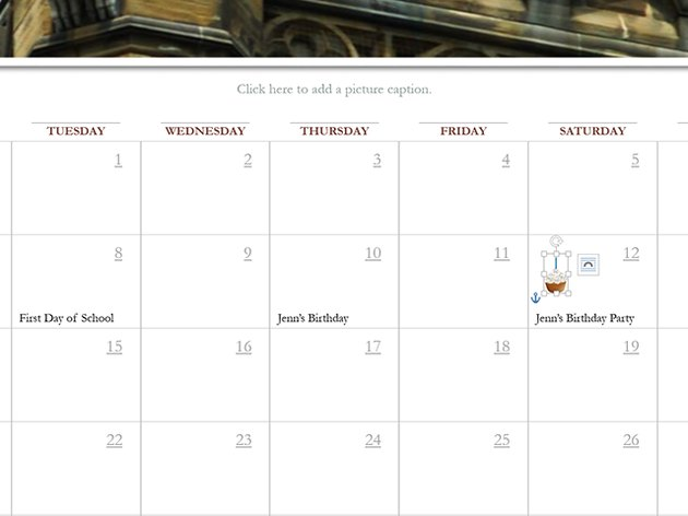 Add personal details to the calendar.