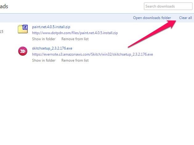 Select Open Downloads Folder to access the Windows Downloads folder.