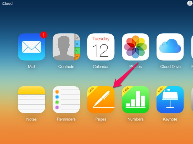 The iCloud desktop shows your iCloud application icons.