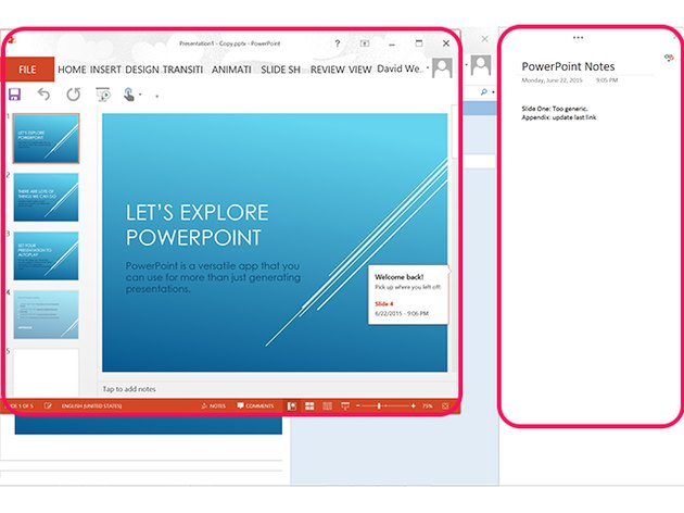 The OneNote linked note remains active as you view the PowerPoint file.