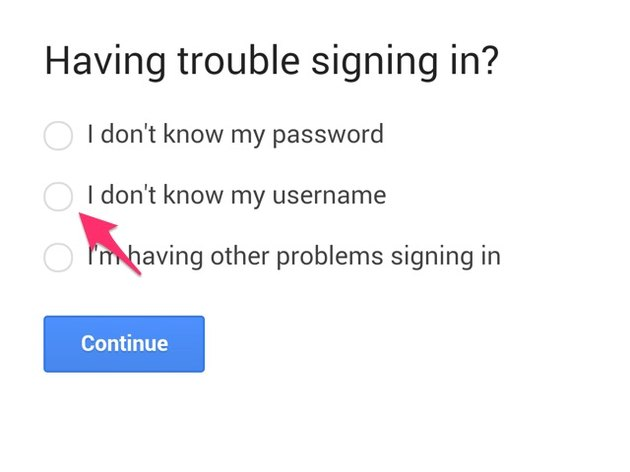 Trouble Signing In page has three options.