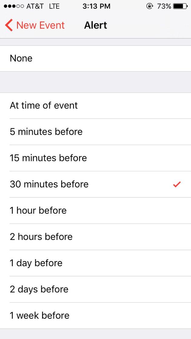 Screen capture of alert option in iPhone calendar app.