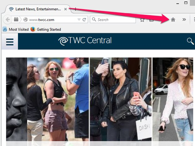 Time Warner Cable tab in Firefox and Home icon in the toolbar.