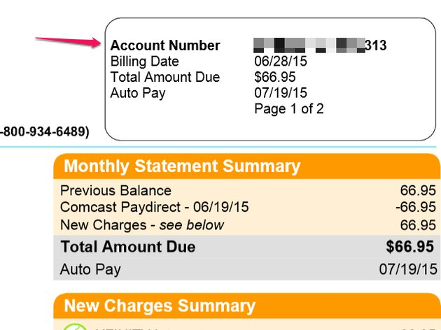 Account number on a Comcast bill.
