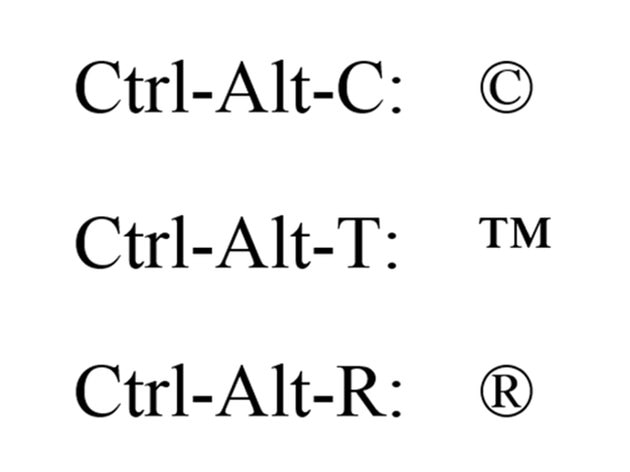 Ctrl-Alt codes for the copyright, trademark and registered symbols.