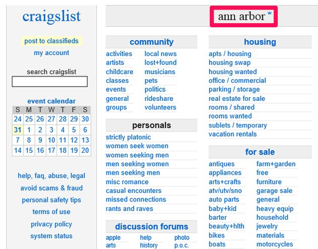 Ann Arbor, Michigan, features its own Craigslist city site.