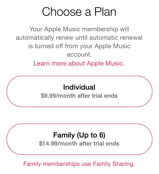 Apple Music subscription options.