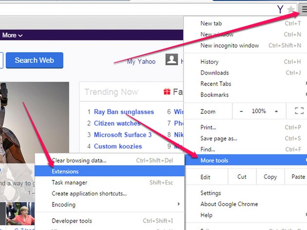 Click on Extensions from the More Tools menu options under the Menu button.