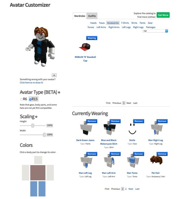 Roblox Avatar Customizer.