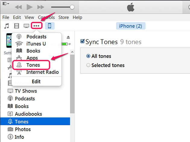 Select Tones from the drop-down menu.