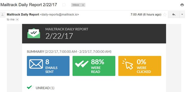 Screenshot of Mailtrack report