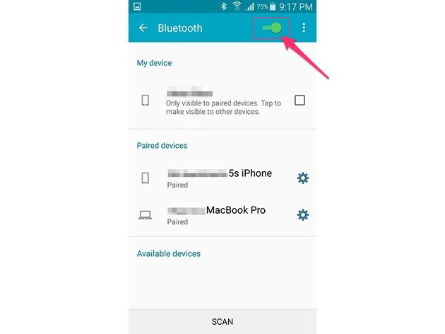 Enable Bluetooth (Android 5.0)