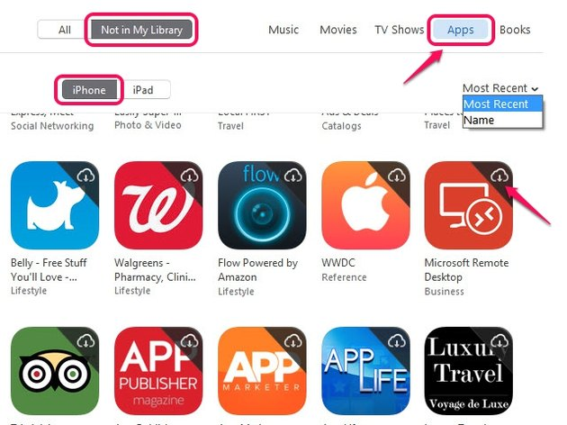 You can filter your list of deleted apps alphabetically or by their download date.