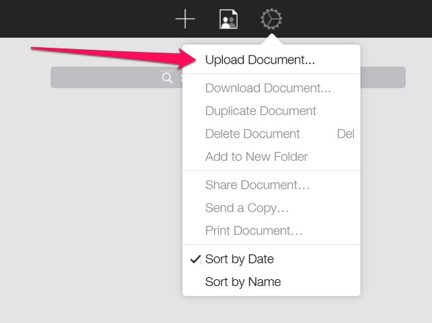 "The Document Control menu toward the right side of the top toolbar, two icons to the right of the ""+"" icon."