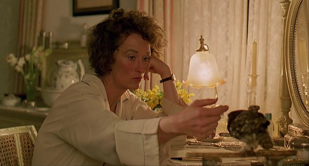 Still of Karen Blixen writing and petting a bird in Out of Africa.