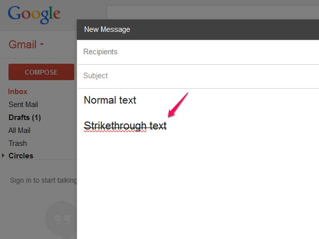 Paste the text in Gmail.