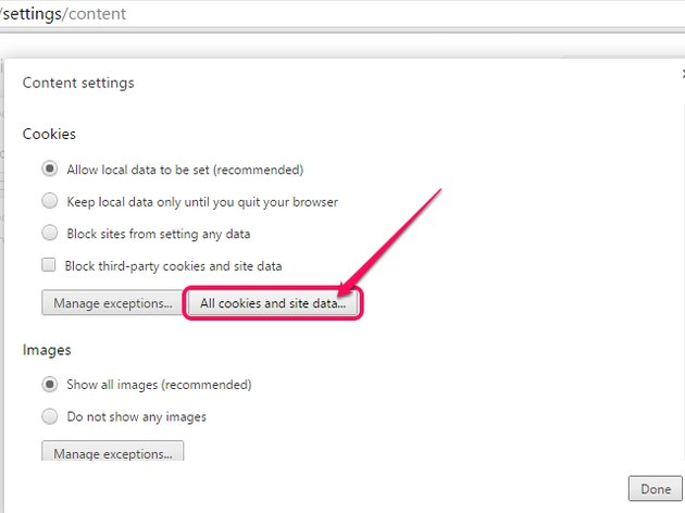The Content Settings menu, with All Cookies and Site Data highlighted.