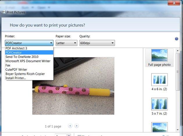 Print dialog for PDFCreator.