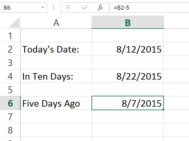 Excel calculates the past date.