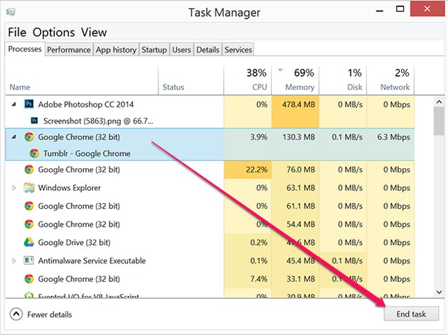 Force a process to close in Task Manager.