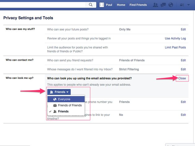 As with other settings pages, descriptions are provided describing what each setting controls on Facebook.