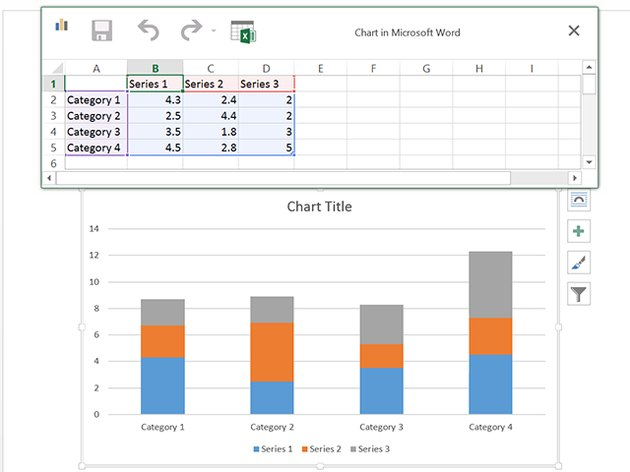 The chart automatically changes as the table data changes.
