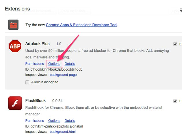 Chrome Extensions page (Chrome)